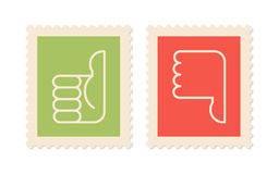 Thumbs up, thumbs down. Postage stamps with symbols thumbs up, thumbs down, two  icons Royalty Free Stock Photography