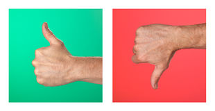 Thumbs up and Thumbs Down Signs on Green and Red. Pair of Thumbs up and Thumbs Down Signs on Green and Red Background Stock Image
