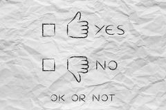 Thumbs up or thumbs down, with yes no case to tick Royalty Free Stock Photography