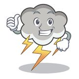 Thumbs up thunder cloud character cartoon. Vector illustration Royalty Free Stock Image