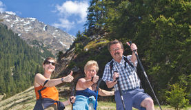 Thumbs up to the great hiking time Royalty Free Stock Images