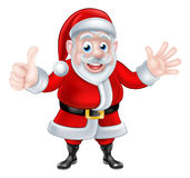 Thumbs Up Waving Cartoon Santa Stock Photo
