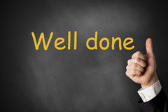 Thumbs up well done chalkboard. Thumbs up gesture black chalkboard praise Stock Images