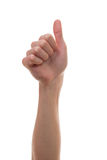 Thumbs up with white background and beautiful hand. Man holding up his hand showing the thums up or I Like sign Stock Photos