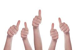 Thumbs up on white background Royalty Free Stock Photography
