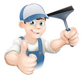 Thumbs Up Window Cleaner Stock Photo