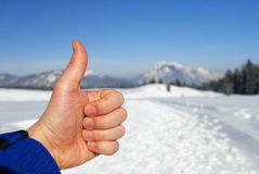 Thumbs up winter Stock Photo