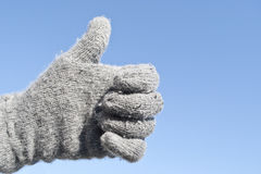 Thumbs up for winter time! Stock Images