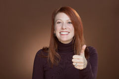 Thumbs up woman Stock Photos