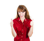 Thumbs up woman Stock Photography