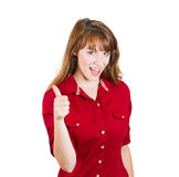 Thumbs up woman Stock Photo