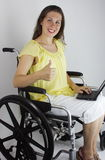 Thumbs Up Woman In Wheelchair Royalty Free Stock Image
