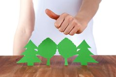 Thumbs up for the wood Royalty Free Stock Photos