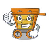 Thumbs up wooden trolley character cartoon. Vector illustration vector illustration