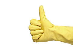 Thumbs-up with a yellow rubber glove Royalty Free Stock Photos