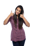 Thumbs up - Young beautiful asian woman Stock Photography