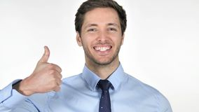 Thumbs Up by Young Businessman on White Background stock video