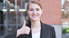 Thumbs Up by Young Businesswoman, Outdoor. 4k high quality, 4k high quality stock video footage