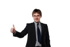 Thumbs up of young manager Stock Photo