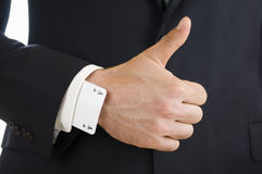 Thumbs up for youngest hand Stock Image