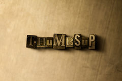 THUMBSUP - close-up of grungy vintage typeset word on metal backdrop. Royalty free stock - 3D rendered stock image.  Can be used for online banner ads and Royalty Free Stock Photography