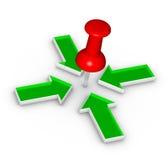 Thumbtack and arrows Stock Photo