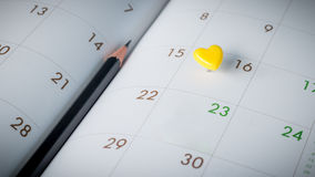 Thumbtack in calendar concept. For busy, appointment and meeting reminder Stock Photography