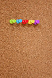 Thumbtack and corkboard Stock Photo
