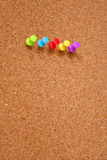 Thumbtack and corkboard Stock Photos