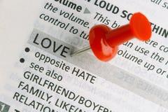 Thumbtack et amour Photographie stock libre de droits