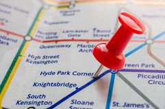 Thumbtack on Hyde Park station in london underground map Royalty Free Stock Images