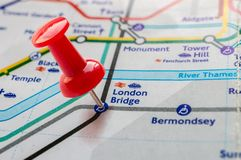 Thumbtack on London Bridge station in london underground map Royalty Free Stock Photography