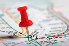 Thumbtack in a Map Royalty Free Stock Image