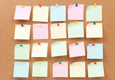Thumbtack and note paper group Stock Image