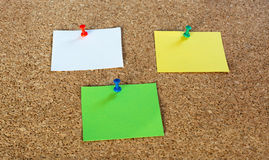 Thumbtack pins and notepaper on pinboard. 3 coloured thumbtack pins with notepapers on brown cork pinboard - copy space for your text Stock Photo