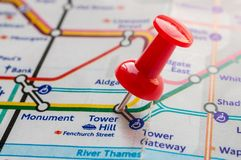 Thumbtack on Tower Hill station in london underground map Stock Photo