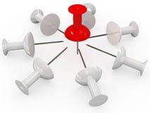 Thumbtack vermelho e branco Imagens de Stock