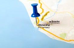 Thumbtack w światowej mapie zdjęcie stock