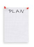 Thumbtacked plan. Piece of squared paper with copy space for your plan notes Royalty Free Stock Photography