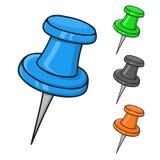 Thumbtacks. Colored doodle style illustration stock illustration