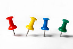 Thumbtacks coloridos fotografia de stock