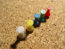 Thumbtacks in Cork 2. Photo of Cork Board With Thumbtacks - Part of Series royalty free stock photo