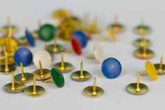 Thumbtacks isolated on white background Royalty Free Stock Images