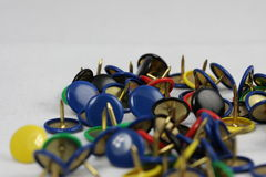 Thumbtacks. Photographied in macro and studio Royalty Free Stock Photos