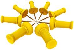 Thumbtacks or pins arranged in a circle Royalty Free Stock Image