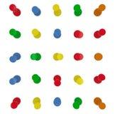 Thumbtacks, set pchnięcie szpilki w różnych kolorach Odgórny widok 3d ilustracji