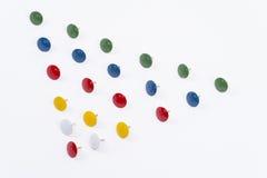 Thumbtacks. Tacks forming a triangle royalty free stock photos