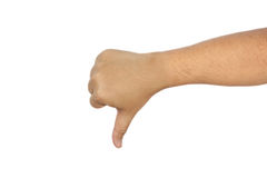 Thump down hand isolated on white background Stock Photos