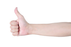 Thump up hand isolated on white background Royalty Free Stock Images