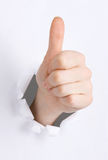 Thump up hand sign Stock Images